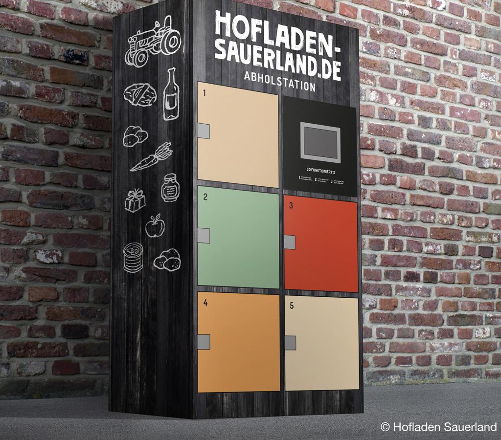 Der Prototyp der Lebensmittel-Abholbox (Bild: Hofladen Sauerland).