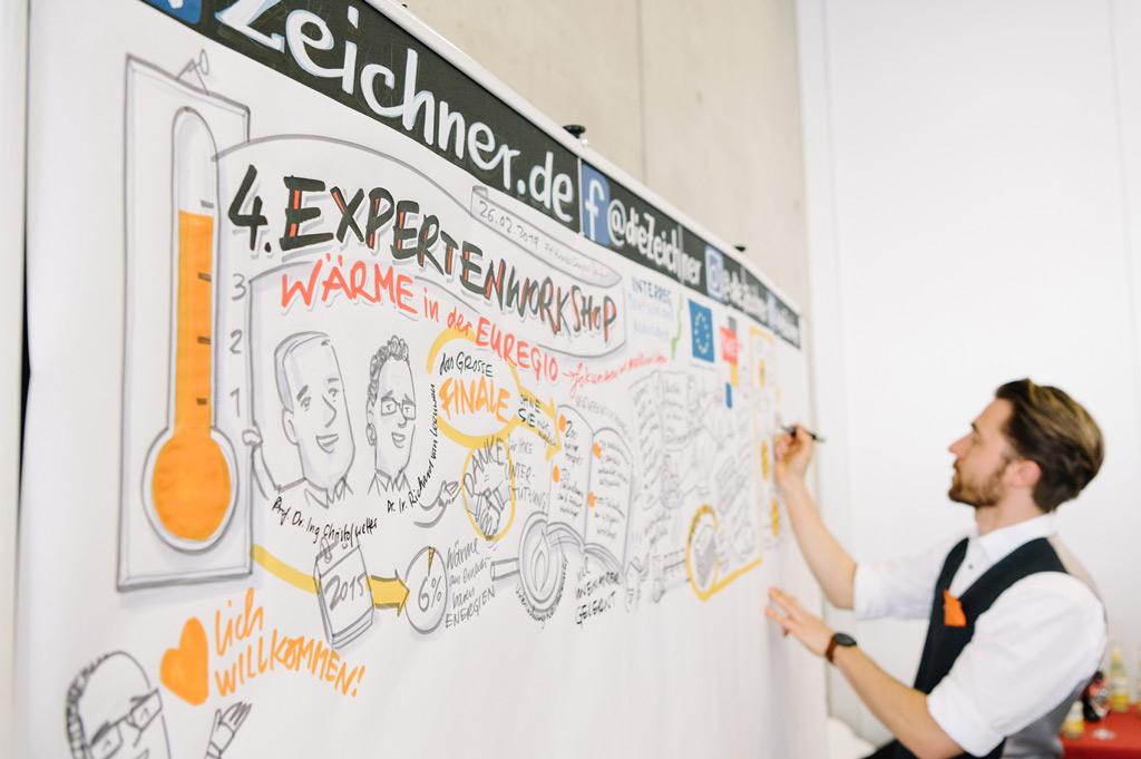 Der Graphic Recorder Andreas Gaertner begleitete die Veranstaltung und hielt die Vorträge spontan und zusammengefasst auf einer vier Meter großen Leinwand fest (Bild: FH Münster | Maxi Krähling).