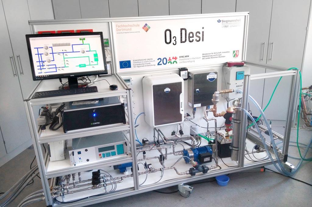 Die Versuchsanlage O3Desi. (Bild: Fachhochschule Dortmund / Jan Wüst)