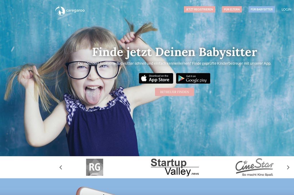 """Screenshot der Startseite des Startups """"caregaroo"""". (Bild: https://www.caregaroo.de)"""