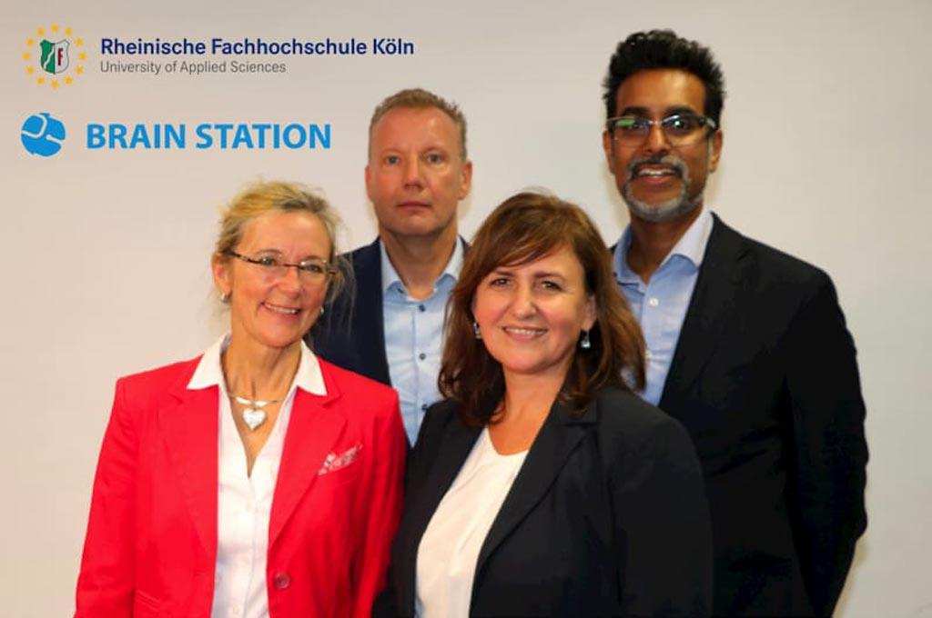 Projektpartner v. l. n. r.: Birgit Gerhold (MIP GmbH), Dr. Holger Kramer (Brain Station 51), Prof. Dr. Beate Gleitsmann (RFH Köln), Shah Saad Azfar (AbbVie) (nicht im Bild Rupak Biswas aus Bangladesch).