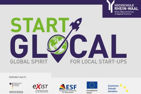 """Flyer des Projekts """"StartGlocal"""" zur Förderung der Gründungskultur, das an der Hochchule Rhein-Waal gestartet ist."""