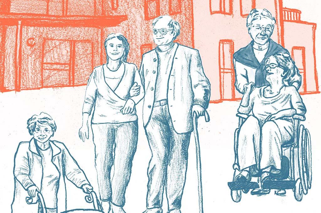 Eine Zeichnung auf der Seniorinnen und Senioren vor einem Haus zu sehen sind. (Bild: FH Bielefeld/Serafima Rayskina).