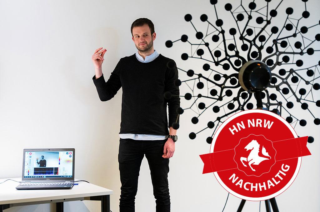 Das Ziel von MOSES ist es, leistungsstarke Algorithmen zu entwickeln, die die bisherige Lokalisationsleistung von Akustikkameras optimieren und die Herstellung einer kleineren, mobilen Akustikkamera ermöglichen. (Bild: Felix Hüffelmann | FH Bielefeld).